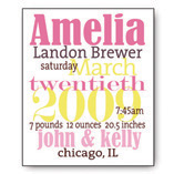 8 x 10 Custom Birth Announcement
