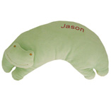 Green Frog Pillow with Monogram