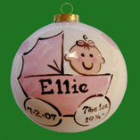 Round Birth Christmas Ornament for Girl